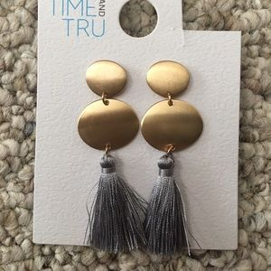 Time and tru gold and grey thread earrings